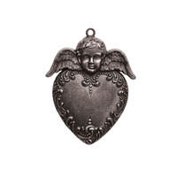 A Gilded Life Heart Angel - Silver Pendant