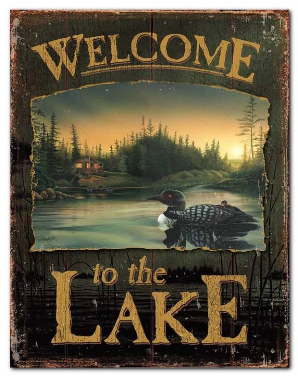 Welcome To The Lake Loon Tin Sign