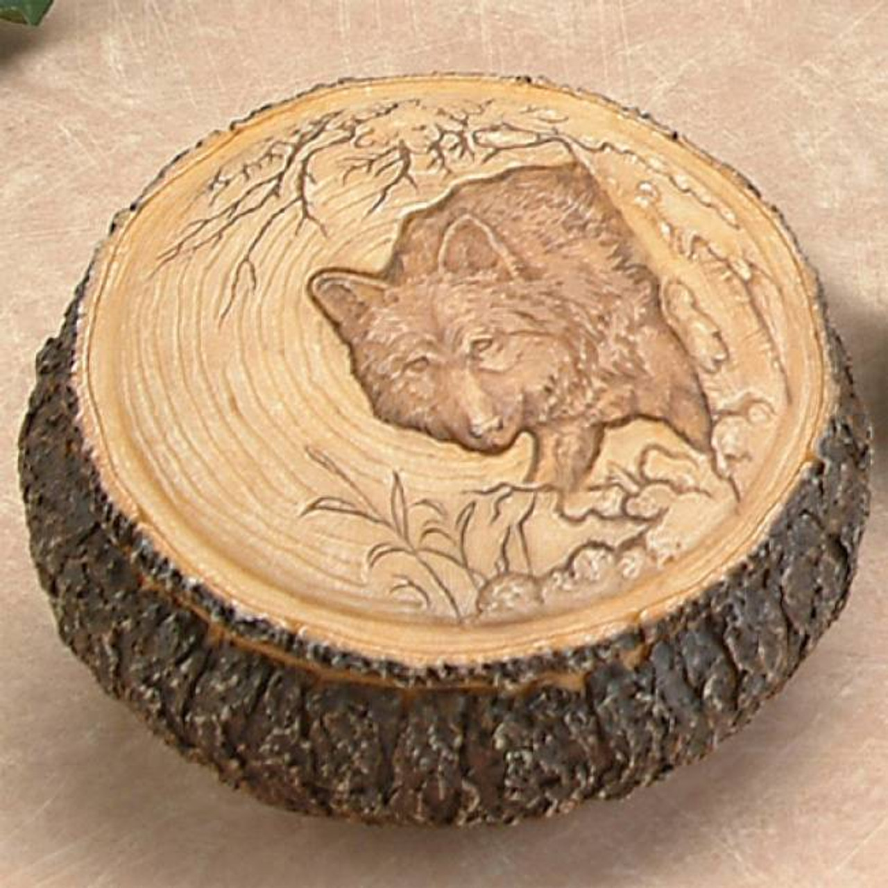 Carved wolf box