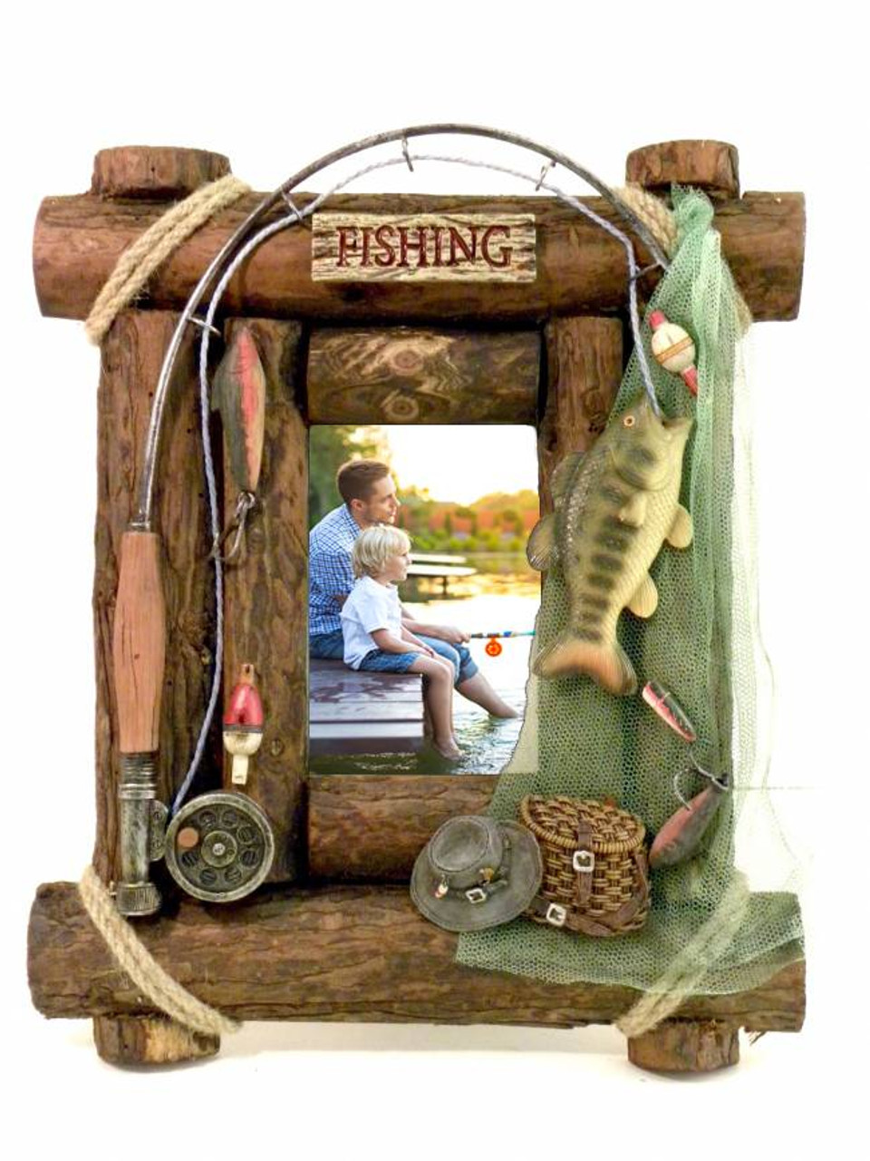 rustic wooden fishing picture frame