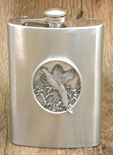 8 oz. Pewter Pheasant Flask