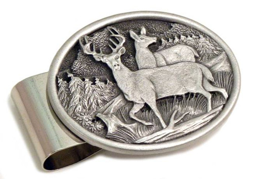 Two Deer Pewter Money Clip- Oval
