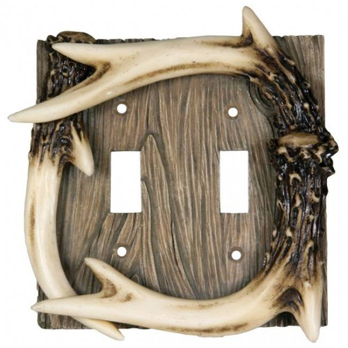 Deer Antler Double Light Switch Cover