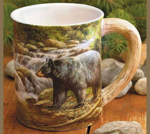 Sculpted Black Bear Coffee Mug