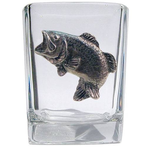 Largemouth Bass Square Shot Glass w/ Pewter Emblem