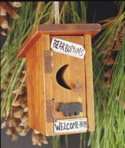 Bear Bottoms Welcome Here Outhouse Carved Wood Ornament