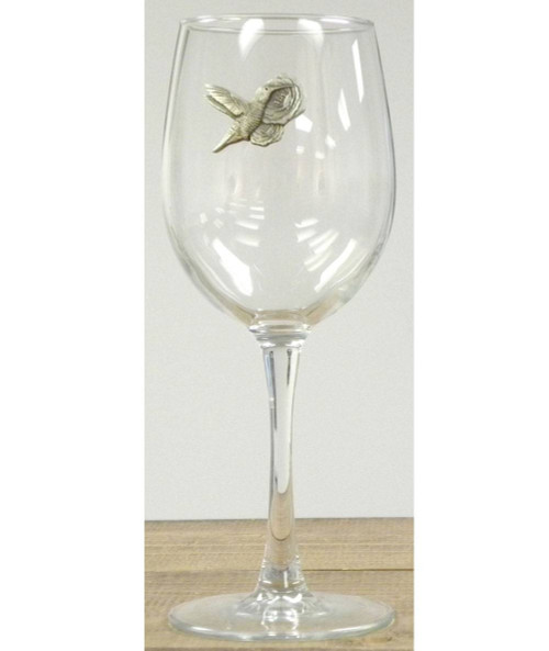 Hummingbird Wine Glass w/ Pewter Emblem