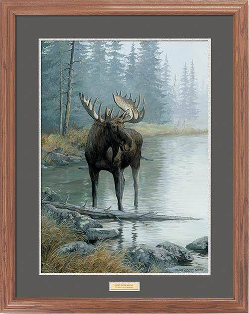 """Bull Shore"" Moose Framed Wildlife Art Print"