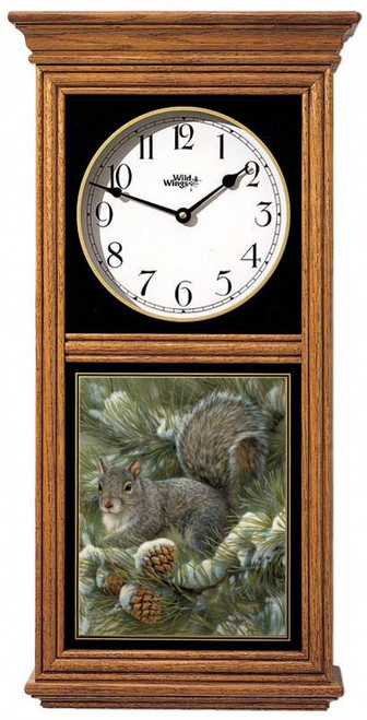 Gray Squirrel Regulator Clock