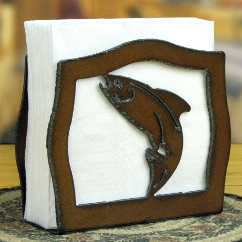 Rustic Trout Iron Napkin Holder