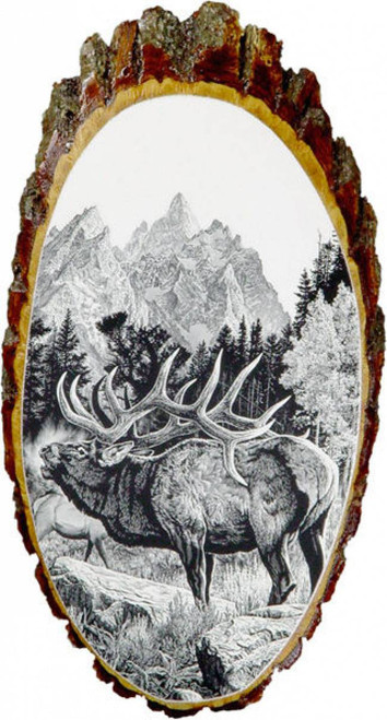 Elk Rustic Wooden Plaque
