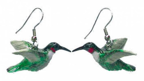 Ruby Throated Hummingbird Earrings