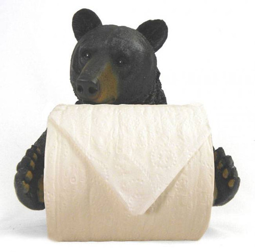 Image of the bear toilet paper holder with toilet paper