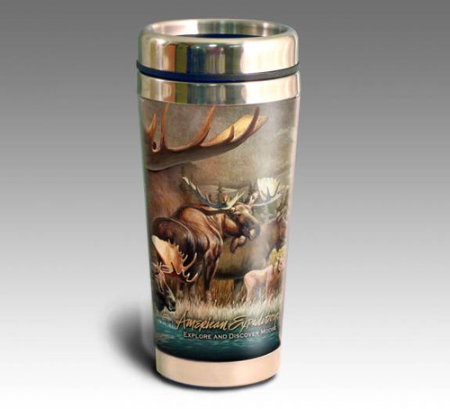 Bull Moose Collage Series 16oz Travel Mug