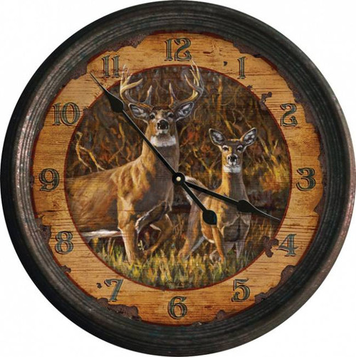 "15"" Buck and Doe Tin Frame Clock"