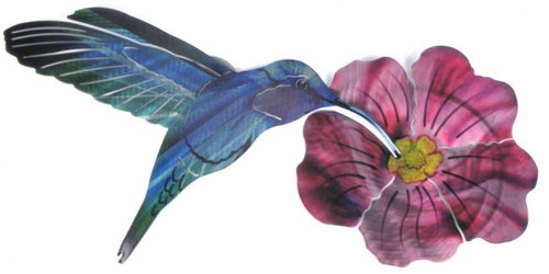 Hummingbird With Flower 3D Steel Reflective Wall Art