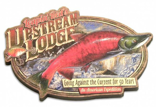 Leapin' Red's Upstream Lodge Vintage Wooden Magnet