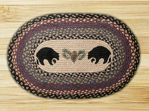 Black Bear Oval Braided Rug