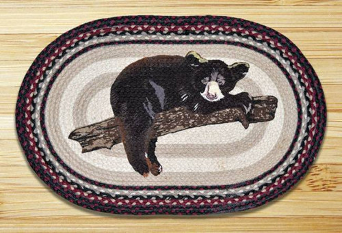 Baby Black Bear Oval Braided Rug