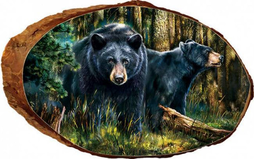 Black Bears Rustic Wooden Plaque
