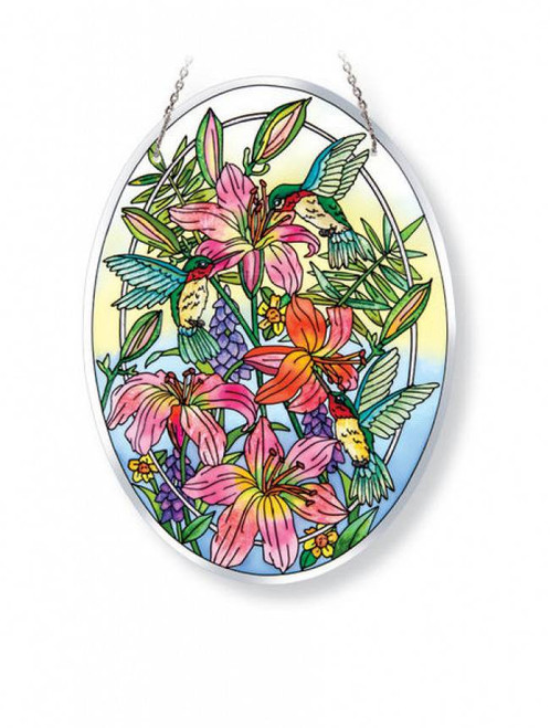 Daylilies & Hummingbird Associates Stained Glass Suncatcher