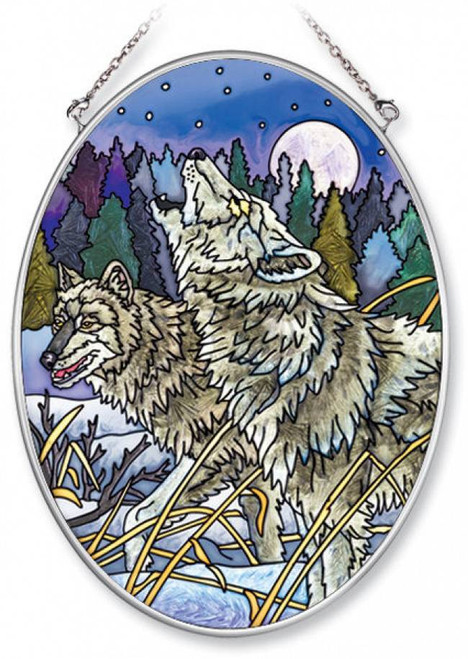 """Howling in the Moonlight Wolf 5.5"""" x 7"""" Stained Glass Suncatcher"""