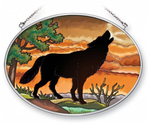 Wolf Silhouette Stained Glass Suncatcher