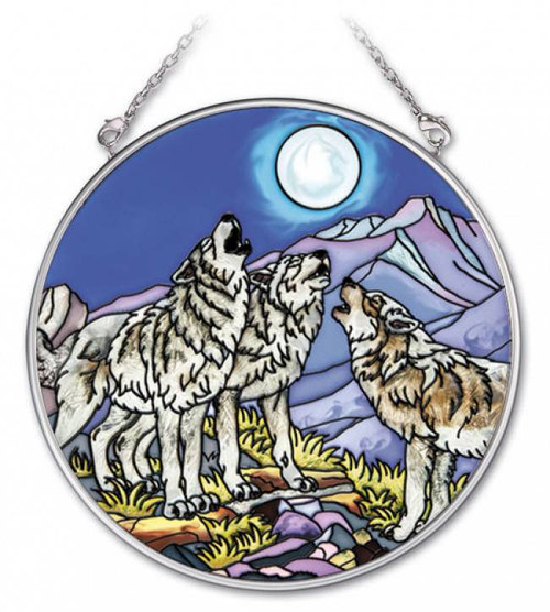 Wolf Pack Stained Glass Suncatcher