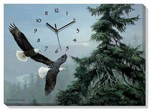 Above The Mist - Bald Eagle Wrapped Canvas Clock