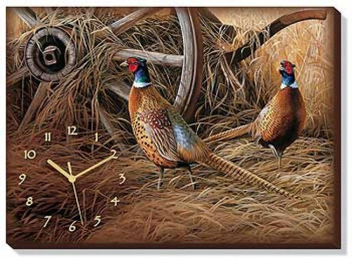 Autumn Glow - Pheasants Wrapped Canvas Clock