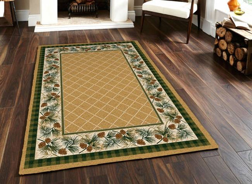 Evergreen Tree and Plaid Maize 5' by 8' Rug
