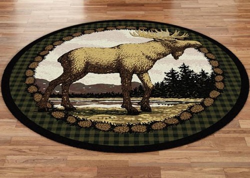Majestic Moose And Pinecone 8u0027 Round Rug