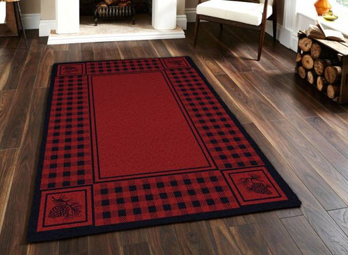 Pinecone and Plaid Red 5' by 8' Rug