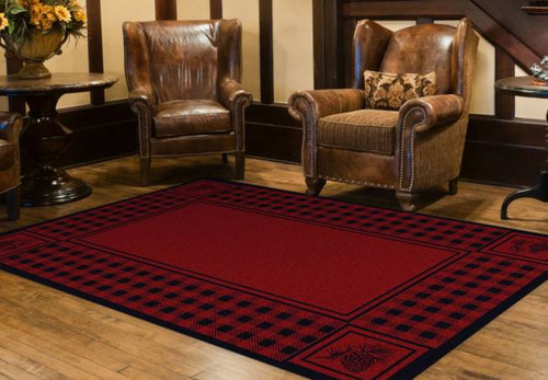Pinecone and Plaid Red 8' by 10' Rug