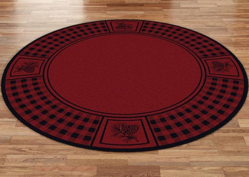Pinecone and Plaid Red 8' Round Rug
