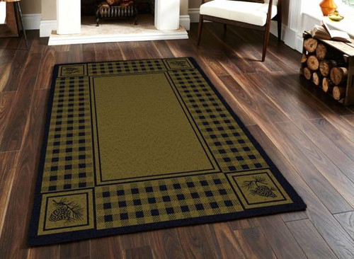 Pinecone and Plaid Green 5' by 8' Rug