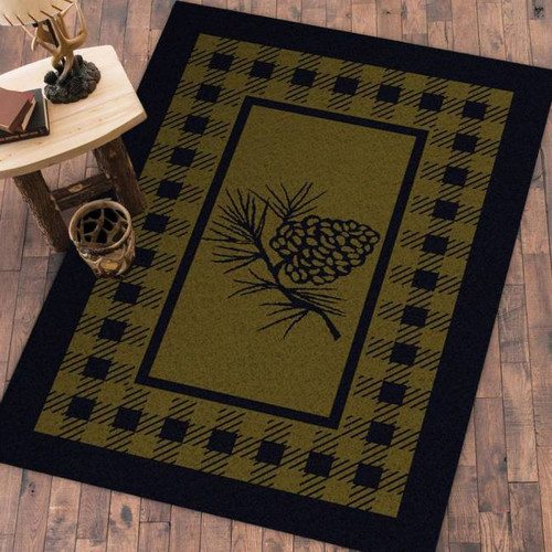 Pinecone and Plaid Green 4' by 5' Rug