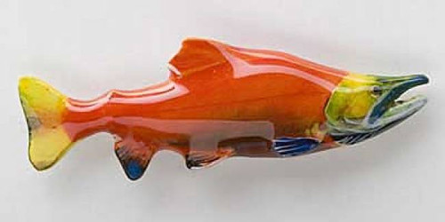Sockeye Salmon Spawning - Painted Metal Lapel Pin