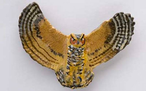 Flying Great Horned Owl - Painted Metal Lapel Pin