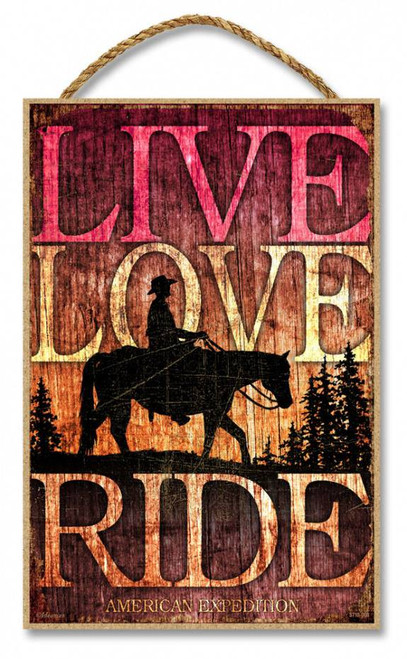 "Live, Love, Ride (Horse) 7"" x 10.5"" Sign"