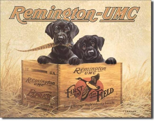 """Finders Keepers"" Remington Black Lab Tin Sign"