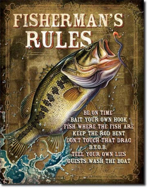 Fisherman's Rules Tin Sign