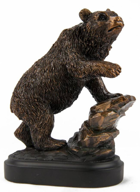 Grizzly Bear on Rock Bronze Sculpture