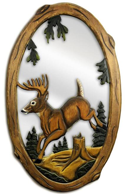 Jumping Deer Hand-Carved Wooden Mirror