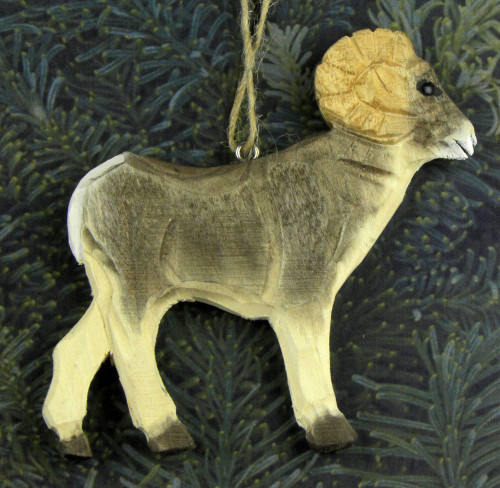 Hand-Carved Wooden Bighorn Sheep Ornament