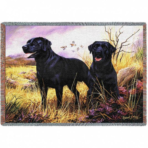 """Black Labs"" Woven Blanket"