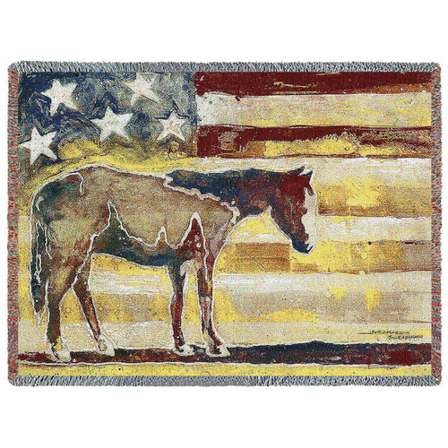"""American Horse Red, White, and Blue"" Woven Blanket"