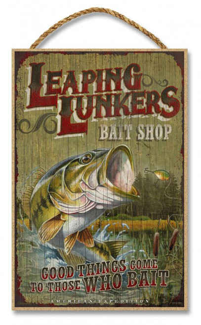 """Leaping Lunkers Bait Shop Rustic Advertising Wooden 7"""" x 10.5"""" Sign"""