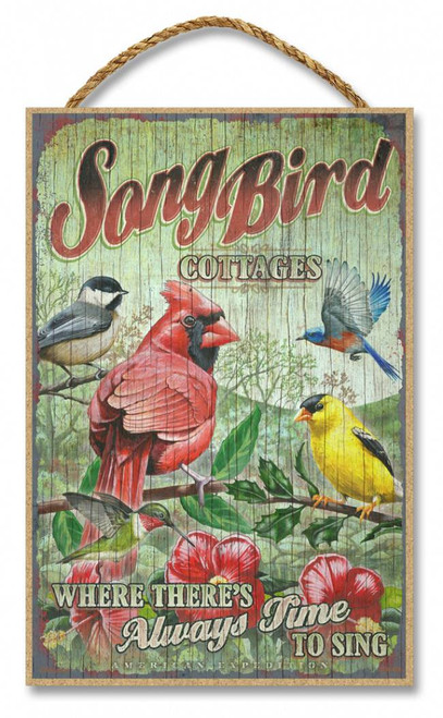 "Song Bird Cottages Rustic Advertising Wooden 7"" x 10.5"" Sign"