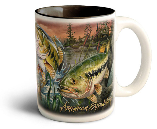 Largemouth Bass Collage Series 15oz Stoneware Coffee Mug